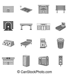 City infrastructure icons set, monochrome style