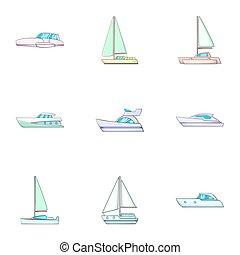 Sail boat icons set, cartoon style - Sail boat icons set....