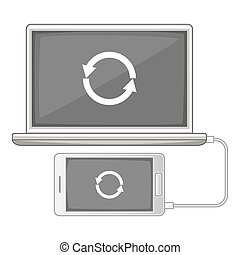 devices synchronization icon, cartoon style - devices...