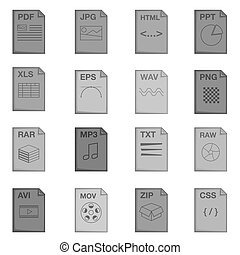 File extension icons set, monochrome style - File extension...