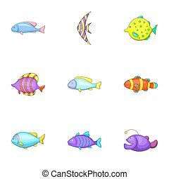 Marine fish species icons set, cartoon style