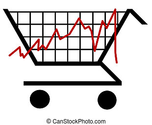 bar graph made out of a shopping cart