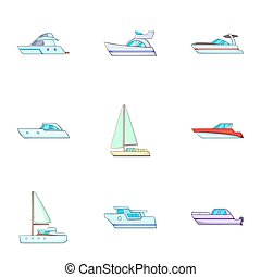 Ship transportation icons set, cartoon style - Ship...