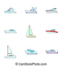 Ship transportation icons set, cartoon style - Ship...