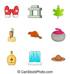 Travel to Canada icons set, cartoon style - Travel to Canada...