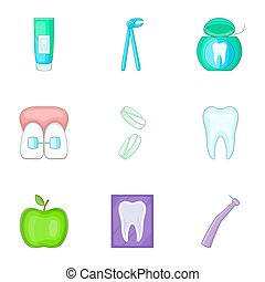 Dental icons set, cartoon style - Dental icons set. Cartoon...