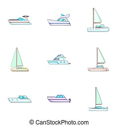Water transport icons set, cartoon style - Water transport...