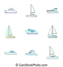 Maritime transport icons set, cartoon style - Maritime...