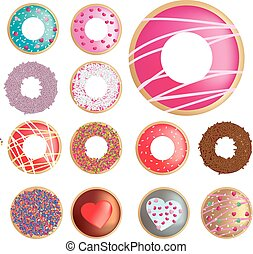 ring donut collection of different flavours - range of...