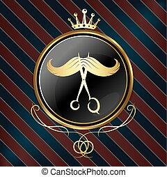 Barber shop design - Symbol for barber shop, golden crown...