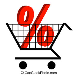 shopping cart with percentage sign