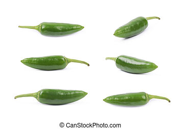 Green jalapeno pepper isolated over the white background,...