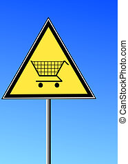 yellow sign with a shopping cart