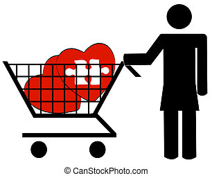 woman pushing shopping cart with hearts - shopping for love