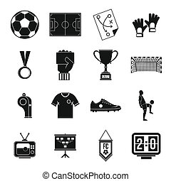 Soccer football icons set, simple style - Soccer football...