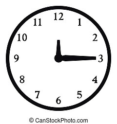Round wall clock icon, simple style - Round wall clock icon....