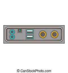 cable connection panel icon, cartoon style