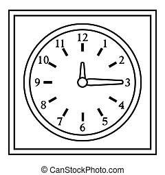 Square wall clock icon, outline style - Square wall clock...