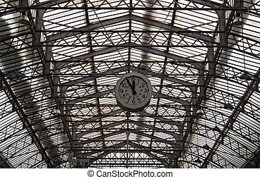 Roof structure of the Paris railway station Gare de l'Est...