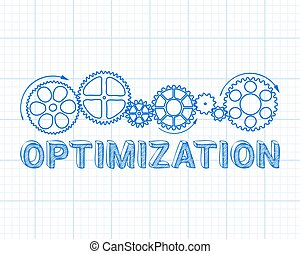 Optimization Graph Paper - Optimization text with gear...