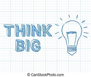 Think Big Light Bulb Graph Paper - Light bulb and think big...