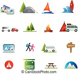 outdoor activities and camping and caravanning icon set