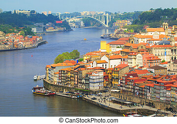 View from Oporto - Oporto old town by the douro river
