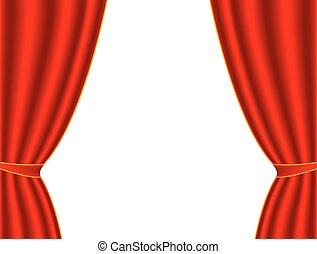 Red theater curtain on a white background