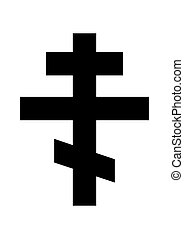 russian orthodox cross religious symbol black and white