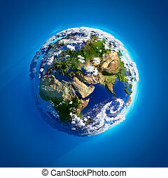 Real Earth with the atmosphere - Real Earth with oceans,...