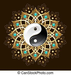 Symbol of yin yang mandala