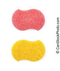 Bath sponge isolated - Red and yellow bath sponge isolated...