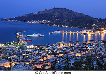 Nigh view on Zante town -  Zakynthos island, Greece.