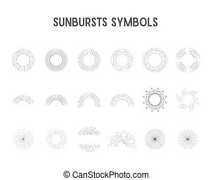 Set of vintage sunbursts, star lights. sillhouette, lineart...