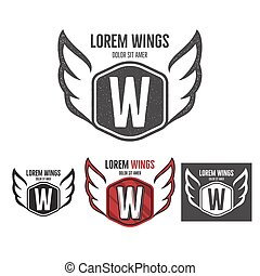 Modern wings shield template logo design. Monochrome, silhouette, color, retro rough versions. Vector design isolated on white background. For company logotype