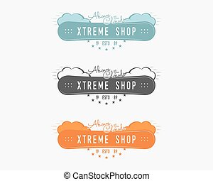 Set of Snowboarding extreme shop logo, label templates Winter snowboard sport store badge. Emblem and icon. Mountain adventure patches. Sports vintage color design. Vector