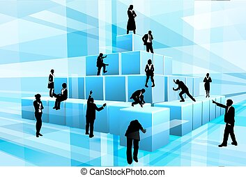 Silhouette Business Team People Building Blocks - A team of...