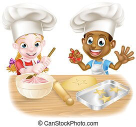 Children Playing at Cooking - Cartoon boy and girl, one...