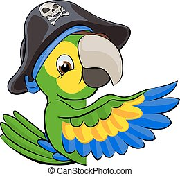 Cartoon Parrot in Pirate Hat