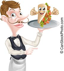Cartoon Waiter Pointing and Kebab - An Illustration of a...