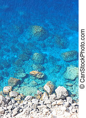 Deep blue sea  - Beautiful Deep blue sea and rocks in Greece