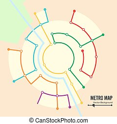 Metro Map Vector. Imaginary Underground Map. Colorful...