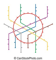 Metro Map Vector. Subway Map Design Template. Colorful...