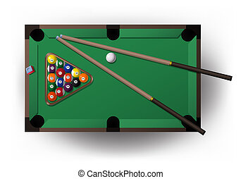 pool table with all pool tool for playing billiard -...