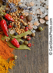 Ingredients for cooking, spices - Ingredients for cooking on...