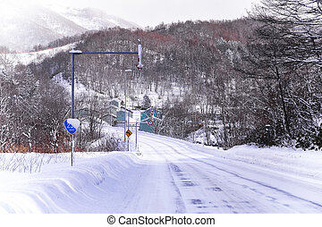 powder snow on a road in Sapporo, Hokkaido Japan