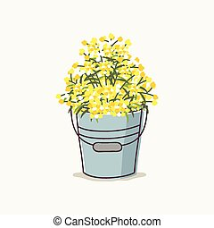 Mimosa Flower in a Bucket - Hand drawn mimosa flower bouquet...