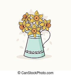 Daffodils in Vintage Vase. - Hand Drawn Daffodils in Vintage...
