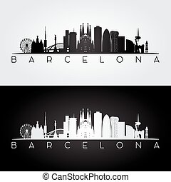 Barcelona skyline and landmarks silhouette.