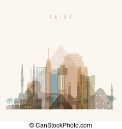 Cairo skyline detailed silhouette. Transparent style. Trendy...
